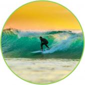 sunset surfer bali